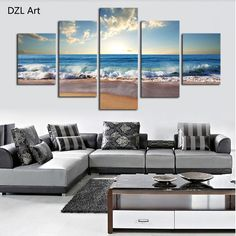 5 Panels(No Frame) Blue sea water  Picture Modern Wall Decor Print on Canvas Oil Painting Canvas Painting
