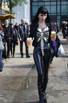 Street Fashion / Skeletal Black Latex Cat Suit / Girls got balls
