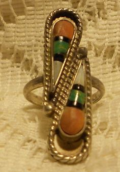 Vintage Sterling Silver with Coral  Zuni by ViksVintageJewelry, $49.99