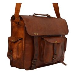 "Vintage Leather Messenger Bag for Men & Women. 16"" x 12"" x 5"""