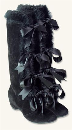 FUR SLEIGH BOOTS - Victorian Trading Co. Velvet w/ real rabbit fur, satin bows, synthetic soles ?