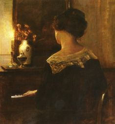 Carl Vilhelm Holsoe (1863-1935)  A Lady Playing The Piano