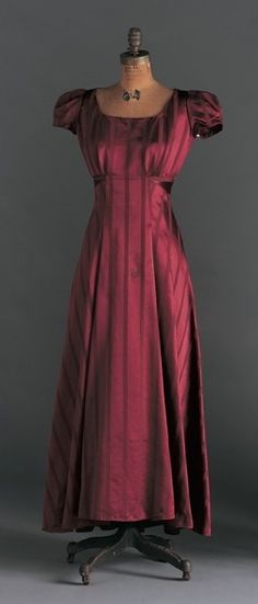 "Dress, Elizabeth Hawes (American, 1903-1971): 1930's, silk. ""At a time when most American fashions were mass-manufactured versions of French couture, it was especially important to American Elizabeth Hawes that her designs be seen as individualistic and not copies. By opening her own salon in 1929 at 21 East 67th Street in Manhattan, she managed to ensure she would retain control over her designs."""