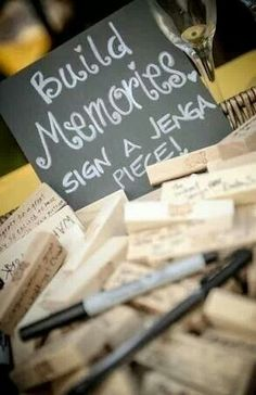 Alternative hen party book / message wall: Get all guests to write a message or memory on a piece of a Jenga game for the bride to keep. You could even play the game afterwards (whilst drinking of course).