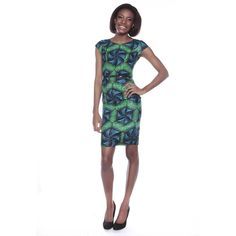 African Print Pencil Dress Green Ankara Dress Slim fit