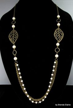Necklace with Leaves and Long Strand of Pearls and Chains | byBrendaElaine - Jewelry on ArtFire