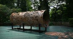 1000 gallon oil tank; Cal Lane, 2009  Lace in Translation exhibition Design Center at Philadelphia University