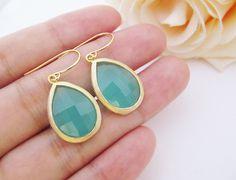 Mint Opal Glass Gold Trimmed Earrings. $22.80, via Etsy.