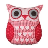 Patchwork Owl Cushion - Red Gingham and Hearts Owl Cushion, Heart Cushion, Shabby Chic Cushions, Vintage Cushions, Red Owl, Pink Owl, Sewing Projects, Sewing Crafts, Flamingo Gifts