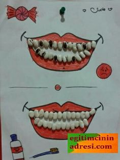 When you are teaching kids about all the important things in life one of the important things to teach them is good dental care. Learning Activities, Preschool Activities, Kids Learning, Teaching Kids, Kindergarten Crafts, Preschool Crafts, Seed Craft, Kids Crafts, Vegetable Crafts