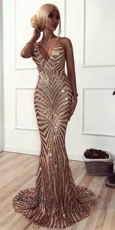 Sequin Mermaid Rose Gold Lace Long Evening Prom Dresses, Sparkly Party Prom Dresses, 18611  #prom #promdresses #longpromdresses #cheapromdresses #Dressesformal #fancydresses #eveningdresses #2019prom Spaghetti Straps Long Simple Prom Dress with Split Party Dress