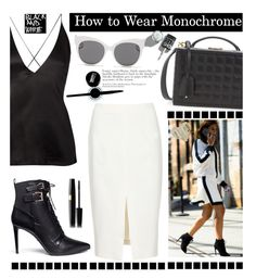 """""""How to Wear Monochrome: Black&White"""" by hamaly ❤ liked on Polyvore featuring moda, Mark Cross, Dion Lee, Altuzarra, Sergio Rossi, Maybelline, Blanc & Eclare, blackandwhite, booties y summerstyle"""