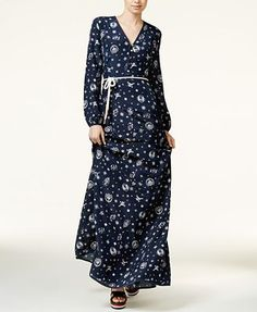 TOMMYXGIGI Silk Nautical-Print Maxi Dress