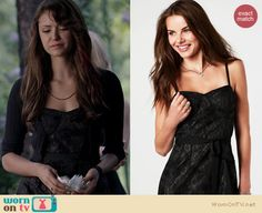 Elena's black lace bustier dress on The Vampire Diaries. Outfit Details: http://wornontv.net/21382 #TheVampireDiaries #TheCW