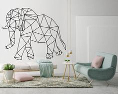 The Elephant Geometric Wall Decal is ideal to quickly and easily transform and bring any walls to life. Perfect for home decor or office decor. Geometric Elephant, Geometric Wall Art, Elephant Art, Vinyl Wall Art, Wall Decal Sticker, Wall Stickers, Vinyl Decals, Wall Art Designs, Bedroom Designs