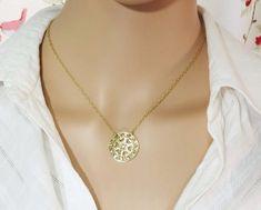 Gold mandala necklace, Round mandala pendant, #jewelry #necklace @EtsyMktgTool http://etsy.me/2wGkQu9