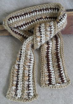 Boho Style Scarf: crochet with browns, tans, off-white