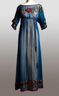 Dress by Paul Poiret point the way to a new silhouette, with a high waist and narrow, ankle-length skirts, 1908