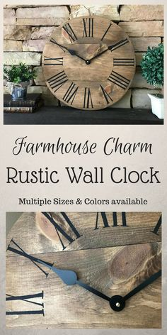 """This 18 inch clock is designed to bring beauty to any space. It can be displayed on a counter or hung on a wall. This clock is handcrafted from start to finish18"""" Natural Clock, Farmhouse Clock, Home Decor, Rustic Wall Clock, Wall Clock #wood #afflink #clock #rustic #rusticdecor #rusticfarmhouse #farmhouse"""