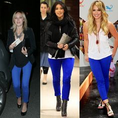 Colored denim has been HOT this year. Love the blue pair on Mali Akerman, Kim Kardashian and Hillary Duff!