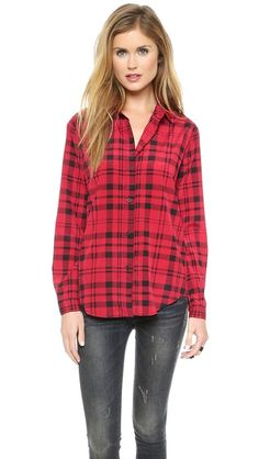 button up long sleeve red plaid checkered shirt silk, shopbop discount code 25% off limited time only