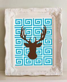 Deer Silhouette with Greek Key - Modern Nursery Art - 8 x 10. $14.00, via Etsy.