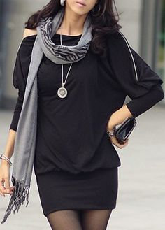 Three Quarter Sleeve Long Black T Shirt