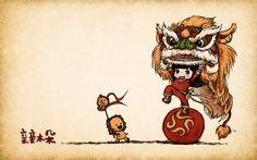 Illustration Wallpaper | Lion Dance Illustration Wallpaper
