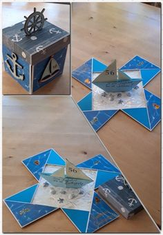 "Explosionsbox als ""Gutschein"" für eine Bootstour Explosion box as a ""voucher"" for a boat tour Boy Cards, Pop Up Cards, Diy Exploding Box, Scrapbook Box, Origami And Kirigami, Magic Box, Fancy Fold Cards, Art Moderne, Diy Box"