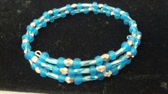 Beaded blue memory wire bracelet #beaded #blue #diy #bracelet #inspiration
