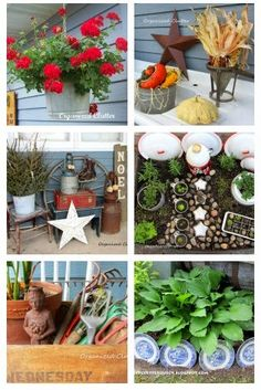 Pinner said: A round up of my best ideas for decorating for all seasons and holidays with outdoor JUNK! Garden Junk, Garden Whimsy, Garden Crafts, Garden Projects, Garden Ideas, Art Crafts, Rustic Gardens, Outdoor Gardens, Outdoor Crafts