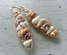 Wire Wrapped Shell Oval Earrings in 14k Gold Fill by mejiro, $42.00