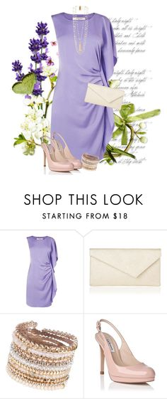 """""""LK Bennett **"""" by xandriah ❤ liked on Polyvore featuring L.K.Bennett, ALDO, Rosantica, slingback, patentleather, lilacdress and asymetricclutch"""