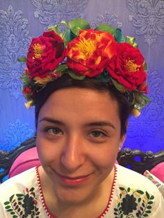 Frida Kahlo Floral Headband Day of the dead flowers floral crown headpiece wedding cinco de mayo mexican bridal headpiece boda mexicana by Miamorcitocorazon on Etsy