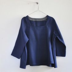 3/4 sleeves blouse, blue linen