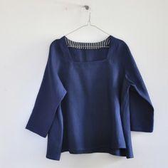 3/4 sleeves blouse, blue linen