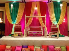 A beautiful, colorful Hindu wedding stage.  All draping and design was done by our talented founder, Anelia. www.pdsevents.com