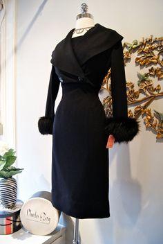 Vintage 1950's Black Wiggle Dress