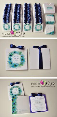 projekt ŚLUB - zaproszenia ślubne, oryginalne, nietypowe dekoracje i dodatki na wesele: Eleganckie zaproszenia i dodatki ślubne PAWIE PIÓRKO w odcieniach granatu, turkusu i bieli