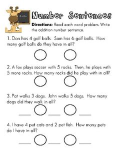 Printables Number Sentence Worksheets writing subtraction number sentences from word problems also addition worksheets