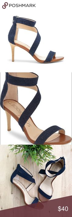 Sole Society Juliette denim sandal Sleek design swoops over the foot and around the ankle. This contemporary stiletto will elevate any summer ensemble. Heel length: 3 in - width: medium Sole Society Shoes Heels