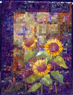Sunflower Quilt - I got to see this one at the Houston International Quilt Festival. Quilting Projects, Quilting Designs, Watercolor Quilt, Sunflower Quilts, International Quilt Festival, Quilt Modernen, Log Cabin Quilts, Log Cabins, Landscape Quilts