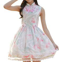 Partiss Sweet Lolita Damen Stehkragen Aermellos Cheongsam Retro Cosplay Party Kostueme Tassel Blumen Fancy Dress Lolita Kleider, Chinese Medium, White Partiss http://www.amazon.de/dp/B01E4ZO8A4/ref=cm_sw_r_pi_dp_vmidxb0SBR8MQ