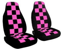 2 Black and Hot Pink Checkered seat covers for a 2012 Jeep Wrangler. Please notify us if you have side airbags. by Designcovers, http://www.amazon.com/dp/B008ZZJF44/ref=cm_sw_r_pi_dp_GkCssb0721WX6