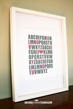 Baby Nursery Art Alphabet Print Baby Shower by missprintdesign, $15.00