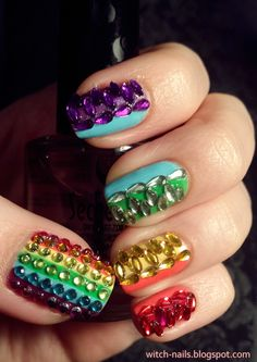 rainbow nails with all colors rhinestones
