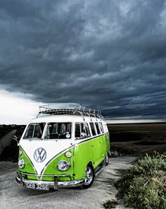 Lime green and white camper! cool picture!