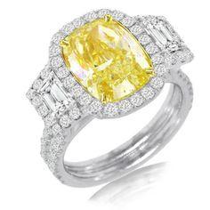 6.76ct 18k Two-tone Gold EGL Certified Cushion Cut Natural Fancy Yellow Diamond Ring | GlobalFeri.com Fine and Fashion Jewelry