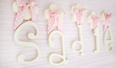 Spell out a name with our popular wooden letters! Hand painted and made in the USA, our nursery letters make a great gift. Choose from colorful ribbons for hanging! Hanging Wooden Letters, Wooden Letters For Nursery, Wood Letters, Nursery Inspiration, Pretty In Pink, Baby Room, Great Gifts, Floral Prints, Baby Shower