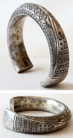 Laos silver bracelet from the Shan people of Southeast Asia Talisman, Silver Bracelets For Women, Tribal Jewelry, Sterling Silver Jewelry, Silver Earrings, Silver Ring, Bracelet Designs, Fashion Bracelets, Rings For Men